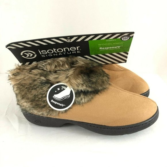 Isotoner Womens Bootie Slippers ResponsIV Faux Fur